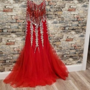 Jovani sequined red mermaid gown 5908